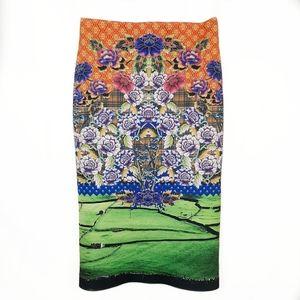 Clover Canyon Printed Scuba Pencil Skirt